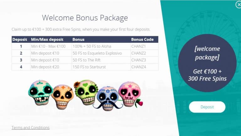 CHANZ Welcome bonuses re on photo.