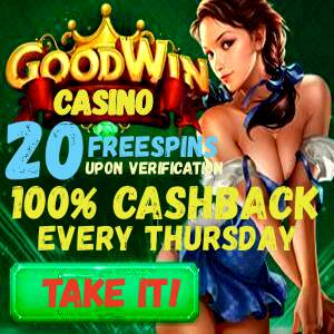 Goodwin Casino 100% cashback can be seen on this image.