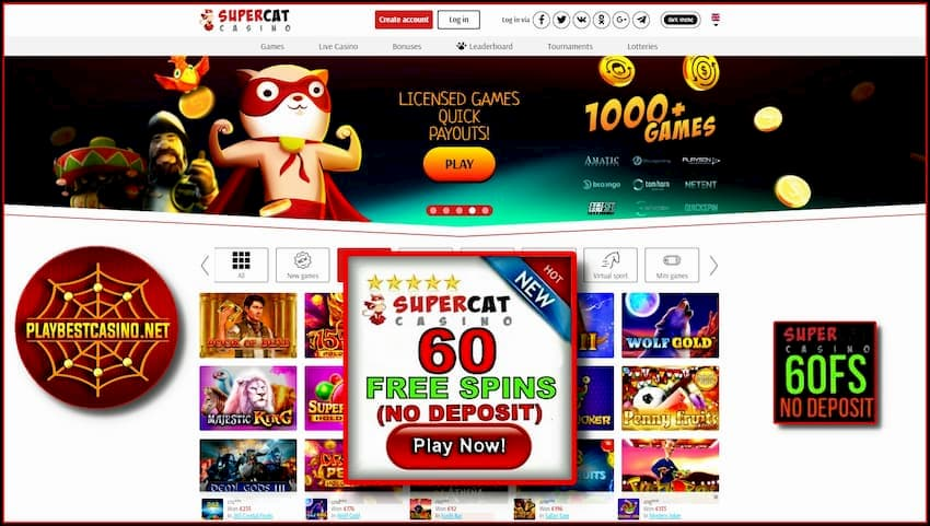 Super Cat Casino (Red Box) 60 Spins No Deposit is on the photo.