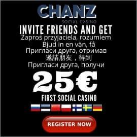 CHANZ Первое Социальное Казино для сайта BalticBet.netПригласи Друга, Получи 25€ есть на фото.