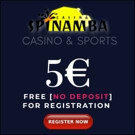 Spinamba casino 5 EURO BONUS BalticBet.net is on photo.