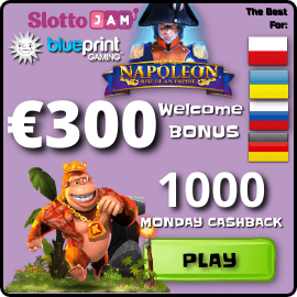 SlottoJam 300 EURO Welcome Bonus and 1000 euro Monday Cashback are on photo.