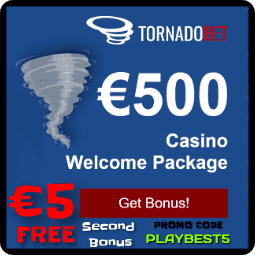 TornadoBet Welcome Bonus and 5 EUR free bonus in TornadoBet is on photo.