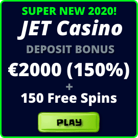 News JET Casino 2020 and a super bonus 2000 Euro for the first deposit are in the photo.