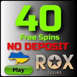 40 Фриспинов за регистрацию в казино Rox для игроков из Украины есть на фото.